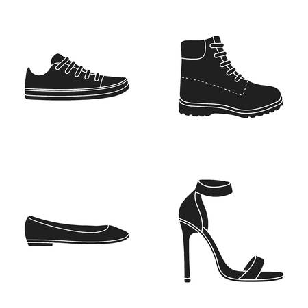 Sneakers with laces, winter warm boots on high soles, women s ballet flats, high-heeled sandals. Shoes set collection icons in black style vector symbol stock