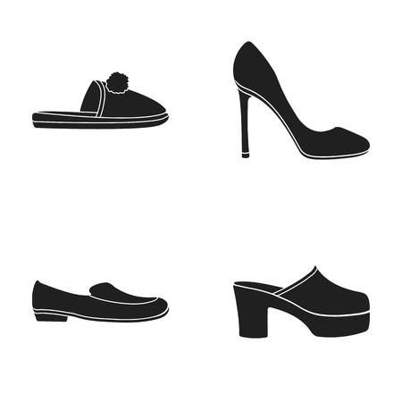 Homemade slippers with a pampon, high-heeled women s shoes, low-heeled shoes, clogs, slippers on a high platform. Shoes set collection icons in black style vector symbol stock illustration . Illustration