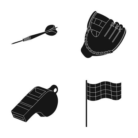 Darts for the game of darts, whistle for the referee, glove for playing baseball, checkbox for the football field. Sport set collection icons in black style vector symbol stock illustration web. Illustration