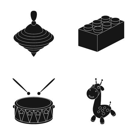 Yula, lego, drum, giraffe.Toys set collection icons in black style vector symbol stock illustration web. Иллюстрация