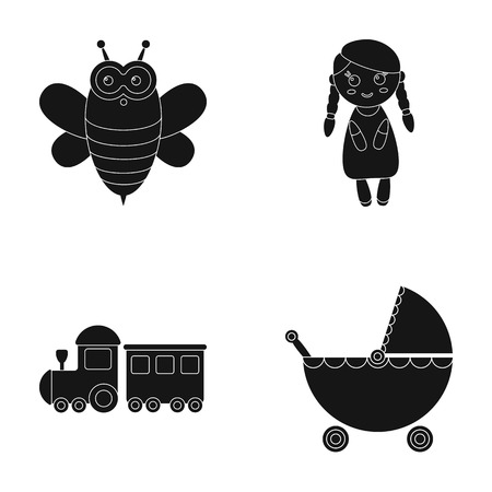 Bee, doll, train, stroller.Toys set collection icons in black style vector symbol stock illustration web. Иллюстрация