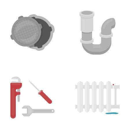 Sewage hatch, tool, radiator.Plumbing set collection icons in cartoon style vector symbol stock illustration . Illustration