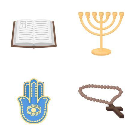 Bible, menorah, hamsa, orthodox cross.Religion set collection icons in cartoon style vector symbol stock illustration .
