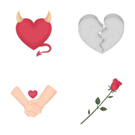broken love: Evil heart, broken heart, friendship, rose. Romantic set collection icons in cartoon style vector symbol stock illustration .