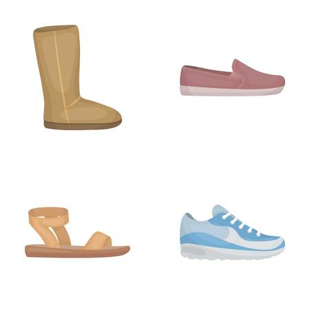 Beige ugg boots with fur, brown loafers with a white sole, sandals with a fastener, white and blue sneakers. Shoes set collection icons in cartoon style vector symbol stock illustration .