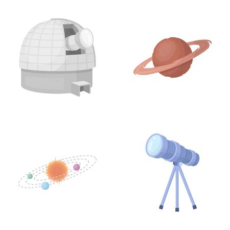 Observatory with radio telescope, planet Mars, Solar system with orbits of planets, telescope on tripod. Space set collection icons in cartoon style vector symbol stock illustration .