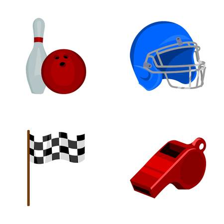 Bowl and bowling pin for bowling, protective helmet for playing baseball, checkbox, referee, whistle for coach or referee. Sport set collection icons in cartoon style vector symbol stock illustration . Illustration