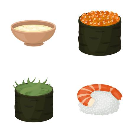 Bowl of soup, caviar, shrimp with rice. Sushi set collection icons in cartoon style vector symbol stock illustration .