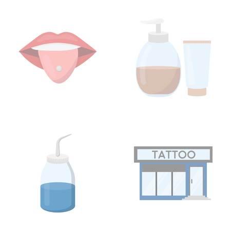 Piercing dans la langue, gel, sallon. Icônes de collection set de tatouage en illustration stock de symbole de vecteur de le style dessin animé.
