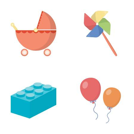 wind mill toy: Stroller, windmill, balloons.Toys set collection icons in cartoon style vector symbol stock illustration .