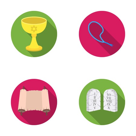 abducted: A cup of wine, Islamic beads, ten commandments, tanakh. Religion set collection icons in flat style vector symbol stock illustration web.