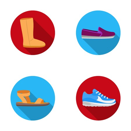 Beige ugg boots with fur, brown loafers with a white sole, sandals with a fastener, white and blue sneakers. Shoes set collection icons in flat style vector symbol stock illustration