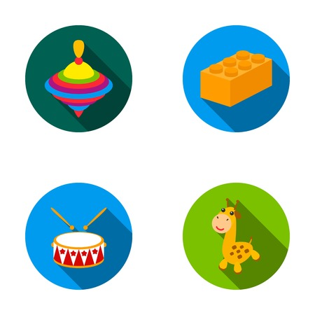 Yula,   drum, giraffe.Toys set collection icons in flat style vector symbol stock illustration web.