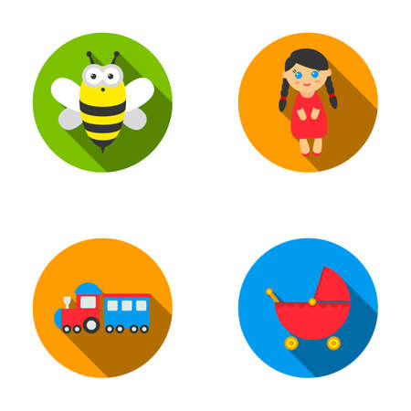 Bee, doll, train, stroller.Toys set collection icons in flat style vector symbol stock illustration web.
