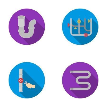 siphon: A siphon, a towel warmer and other equipment.Plumbing set collection icons in flat style vector symbol stock illustration web.
