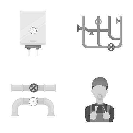 Boiler, plumber, ventils and pipes.Plumbing set collection icons in monochrome style vector symbol stock illustration web. Ilustração