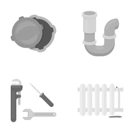 siphon: Sewage hatch, tool, radiator.Plumbing set collection icons in monochrome style vector symbol stock illustration web.