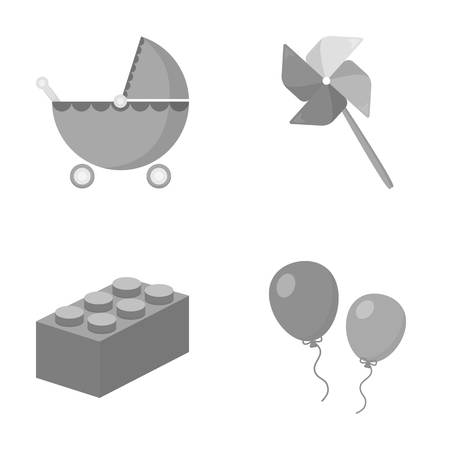 wind mill toy: Stroller, windmill, balloons.Toys set collection icons in monochrome style symbol stock illustration web. Illustration