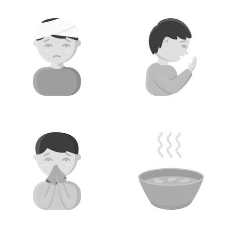 A man with a bandaged head, a man coughing, a man snorts a snot, a bowl, a bowl of hot broth into a handkerchief. Sick set collection icons in monochrome style vector symbol stock illustration web. Ilustração
