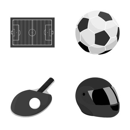 Field, stadium with markings for playing football, football ball, racket with a ball for tennis table, protective helmet for the game,glove for baseball or rugby. Sport set collection icons in monochrome style vector symbol stock illustration web. Stock Photo