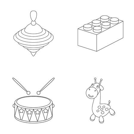 Yula, drum, giraffe.Toys set collection icons in outline style vector symbol stock illustration web.