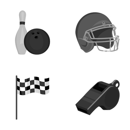 Bowl and bowling pin for bowling, protective helmet for playing baseball, checkbox, referee, whistle for coach or referee. Sport set collection icons in monochrome style vector symbol stock illustration web. Stock Photo