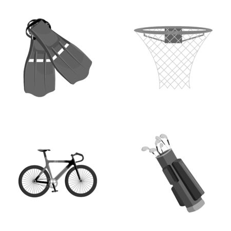 Flippers for swimming, basketball basket, net, racing holograph, golf bag. Sport set collection icons in monochrome style vector symbol stock illustration web.