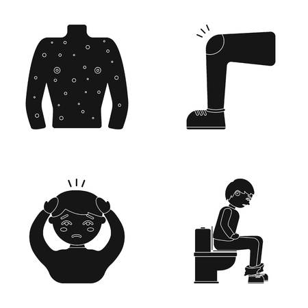illustratio: The human body is covered with ulcers, boils, a red rash, a knee of a man with a bruise, a patient with a headache and asterisks, a person sitting on the toilet with stomach disease. Sick set collection icons in black style vector symbol stock illustratio