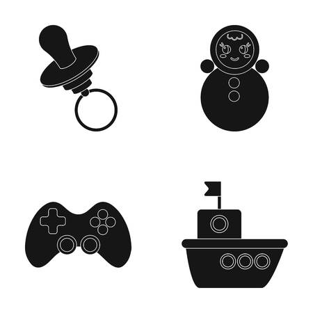 Nipple, doll tumbler, joystick, ship.Toys set collection icons in black style vector symbol stock illustration web.