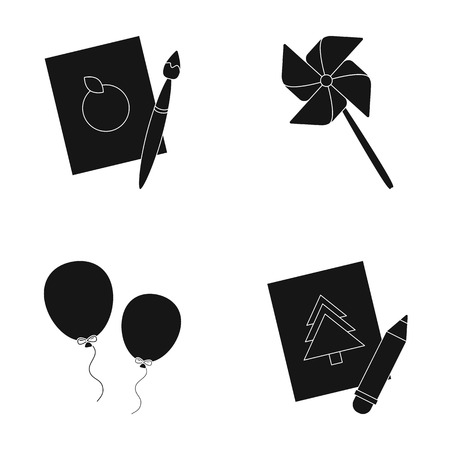 Pictures, a windmill, balloons. Tigers set collection icons in black style vector symbol stock illustration web.