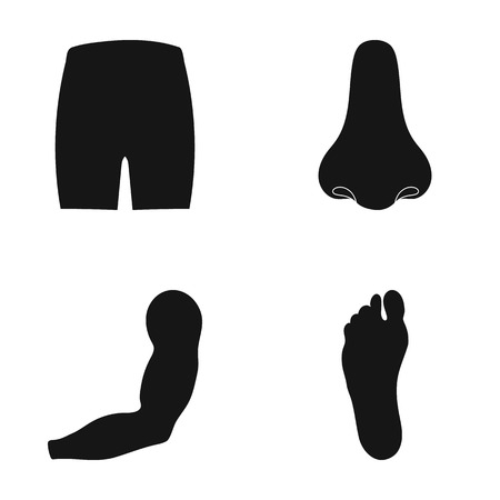 Buttocks, nose, arm, foot. Part of the body set collection icons in black style vector symbol stock illustration web. Illustration