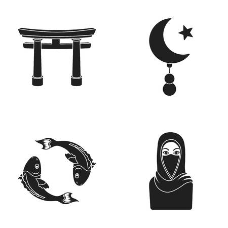 torii: Torii, carp koi, woman in hijab, star and crescent. Religion set collection icons in black style vector symbol stock illustration web.