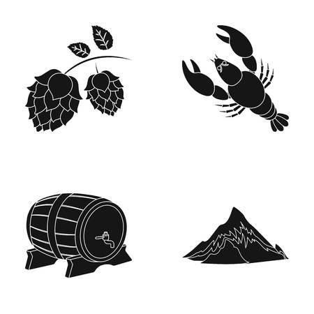 Alpi, un barile di birra, aragosta, luppolo. Icone della raccolta di Oktoberfestset nel web nero dell'illustrazione delle azione di simbolo di vettore di stile. Vettoriali