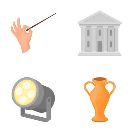 baton: Conductor s baton, theater building, searchlight, amphora.Theatre set collection icons in cartoon style vector symbol stock illustration web.