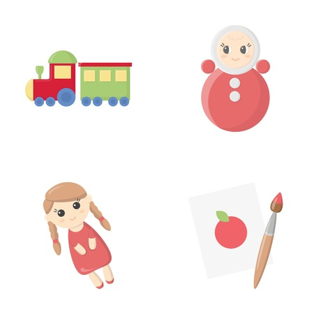 Train.kukla, picture.Toys set collection icons in cartoon style vector symbol stock illustration web. Illustration