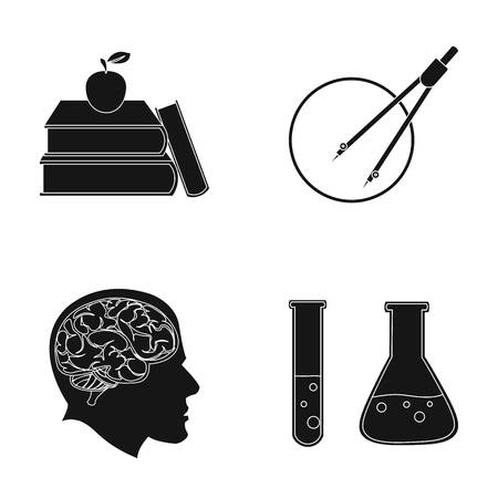 reagent: Books, an apple, a man s head with a brain, test tubes with a reagent, a compass with a circle. School set collection icons in black style vector symbol stock illustration web.