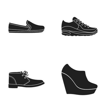 Macadoles on the sole, sneakers with laces, men s shoes at the outfits, women s low shoes on a high platform. Shoes set collection icons in black style vector symbol stock illustration web.