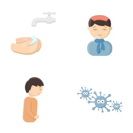 Under a tap with water wash their hands, the patient with a hot-water bottle with ice on his head in a scarf, a man has abdominal pain, viruses, microbes. Sick set collection icons in cartoon style vector symbol stock illustration web.