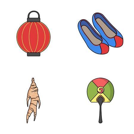 green lantern: South Korea set collection icons in cartoon style vector