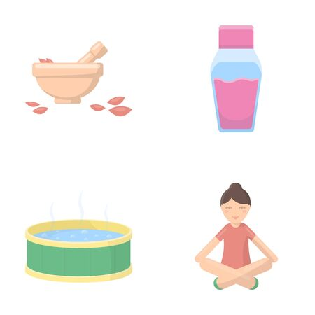 yogi: A bowl with flower petals and tolkushka, a bottle with ointment or cream, a pool with water, a woman in a yoga pose. Spa set collection icons in cartoon style vector symbol stock illustration . Illustration