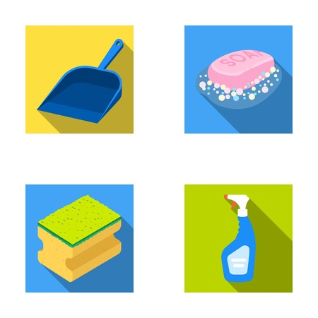 pulverizer: Blue scoop for garbage, pink soap with foam, sponge for washing, pulvelizer for with a means for windows. Cleaning set collection icons in flat style vector symbol stock illustration web.