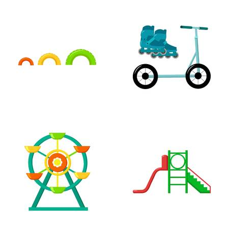 rulos: Ferris wheel with ladder, scooter. Playground set collection icons in cartoon style vector symbol stock illustration . Vectores