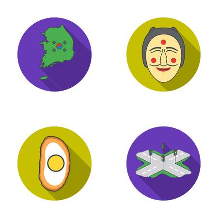 A map of the state with a flag, a Korean mask, a national egg meal, a crossroads with traffic lights. South Korea set collection icons in flat style vector symbol stock illustration . Illustration