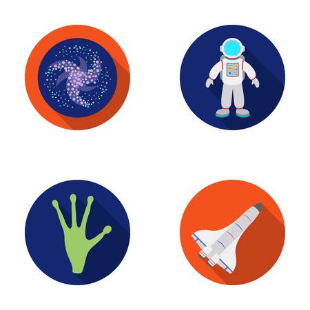 interplanetary: The alien s hand, the space shuttle ship Space Shuttle, the astronaut in the spacesuit, the black hole with the stars. Space set collection icons in flat style vector symbol stock illustration .
