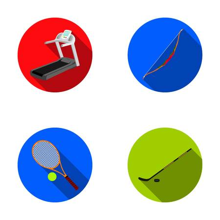 Treadmill, bow for shooting, ball with tennis ball, stick with washer for hockey. Sport set collection icons in flat style vector symbol stock illustration .