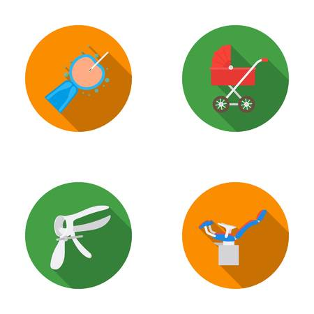 fertilization: Pregnancy set collection icons in flat style vector Illustration