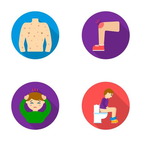 The human body is covered with ulcers, boils, a red rash, a knee of a man with a bruise, a patient with a headache and asterisks, a person sitting on the toilet with stomach disease. Sick set collection icons in flat style vector symbol stock illustration Illustration
