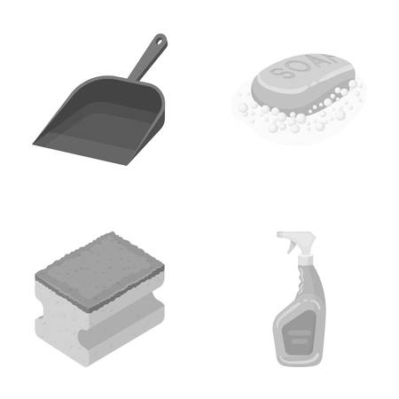 Blue scoop for garbage, pink soap with foam, sponge for washing, pulvelizer for with a means for windows. Cleaning set collection icons in monochrome style vector symbol stock illustration . Illustration