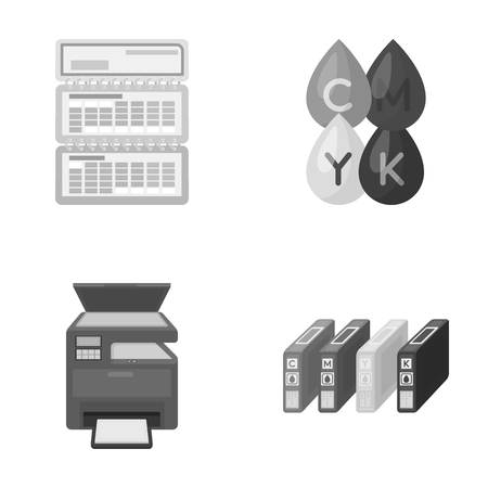 Calendar, drops of paint, cartridge, multifunction printer. Typography set collection icons in monochrome style vector symbol stock illustration .