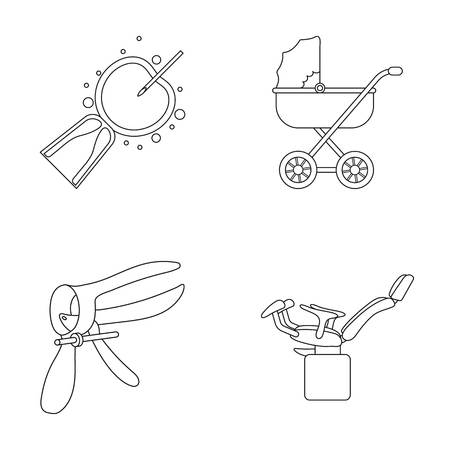 Artificial insemination, baby carriage, instrument, gynecological chair. Pregnancy set collection icons in outline style vector symbol stock illustration flat. Illustration